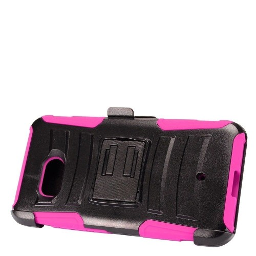 Insten Advanced Armor Hard Plastic Silicone Cover Case w/Holster For HTC U11, Black/Hot Pink