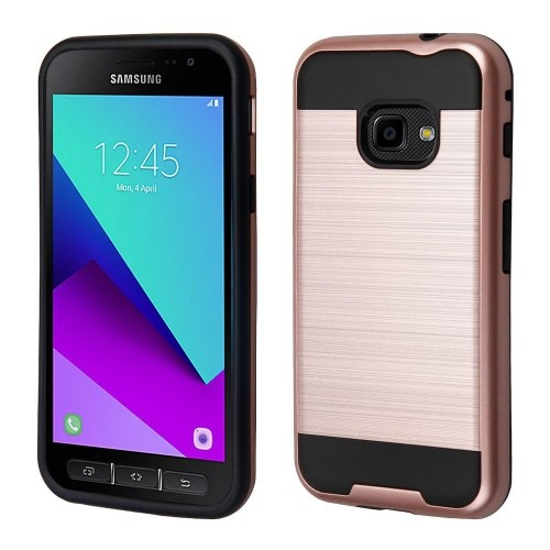Insten Hard Dual Layer Brushed TPU Case For Samsung Galaxy Xcover 4 - Rose Gold/Black