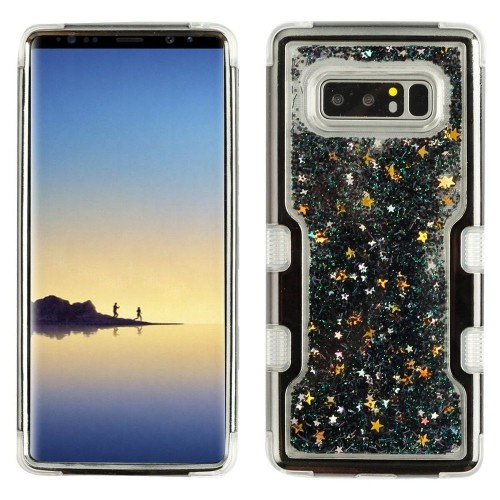 Insten Sparkling QuickSand Hard Hybrid Plastic TPU Case For Samsung Galaxy Note 8 - Black
