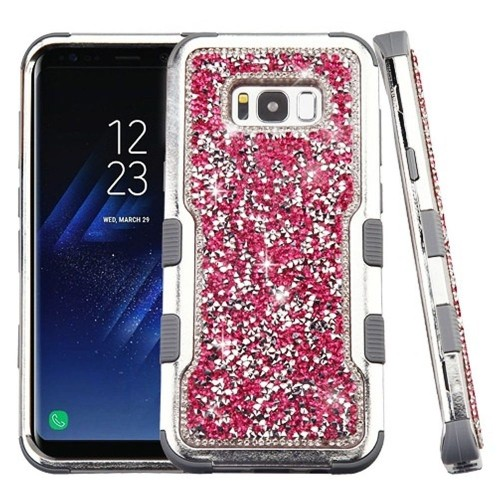 Insten Tuff Hard Dual Layer Rhinestone Silicone Case For Samsung Galaxy S8 - Hot Pink/Silver