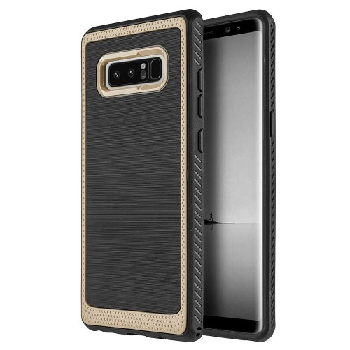 Insten Hard Dual Layer Brushed TPU Case For Samsung Galaxy Note 8 - Black/Gold