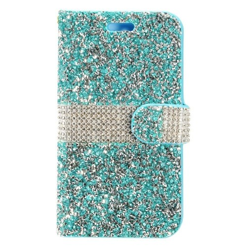 Insten Flip Leather Bling Case w/card holder For Samsung Galaxy Note 8 - Blue