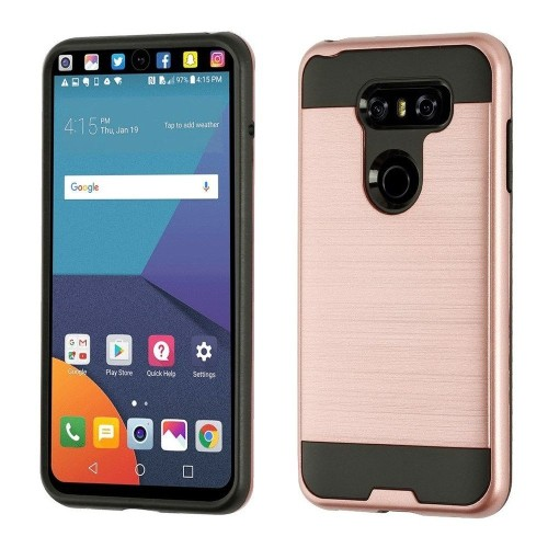 Insten Hard Dual Layer Brushed TPU Cover Case For LG V30 - Rose Gold/Black