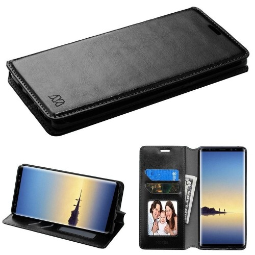 Insten Folio Leather Fabric Case w/stand/card slot/Photo Display For Samsung Galaxy Note 8 - Black