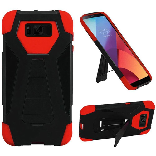 Insten Hard Hybrid Plastic TPU Cover Case For Samsung Galaxy S8 Active - Black/Red