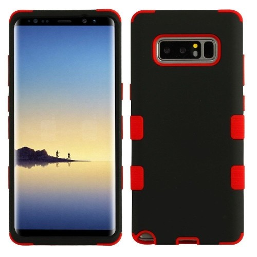 Insten Tuff Hard Dual Layer TPU Case For Samsung Galaxy Note 8 - Black/Red