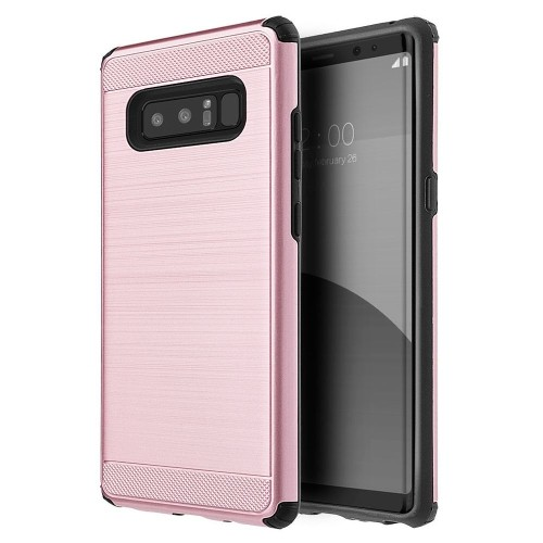 Insten Silkee Armor Hard Hybrid Brushed TPU Case For Samsung Galaxy Note 8 - Rose Gold/Black