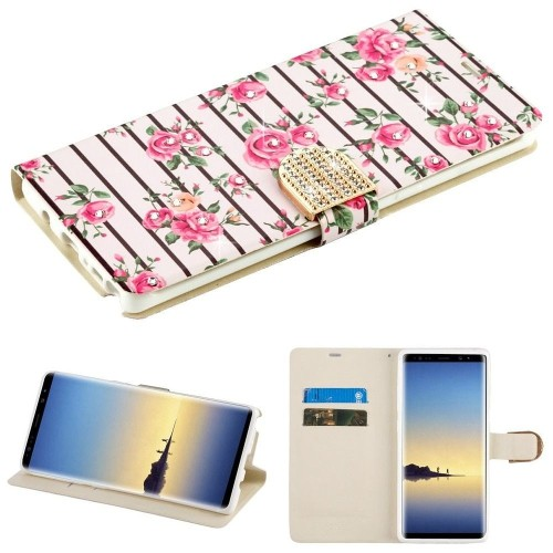 Insten Fresh Flowers Book-Style Leather Case w/card holder For Samsung Galaxy Note 8, Pink/White