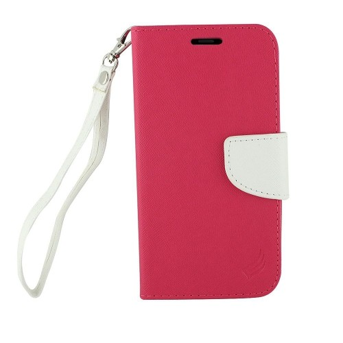 Insten Folio Leather Fabric Case Lanyard w/stand/card slot For Samsung Galaxy Note 8, Hot Pink/White