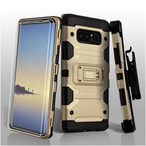Insten Storm Tank Hard Plastic TPU Cover Case w/stand/Holster For Samsung Galaxy Note 8, Gold/Black