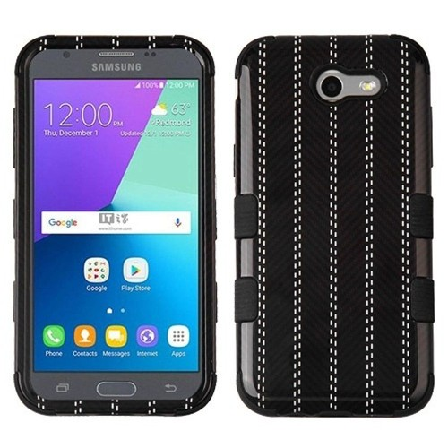 Insten Striped Suit Hard Case For Samsung Galaxy Amp Prime 2/J3 (2017)/J3 Emerge/J3 Luna Pro, Black