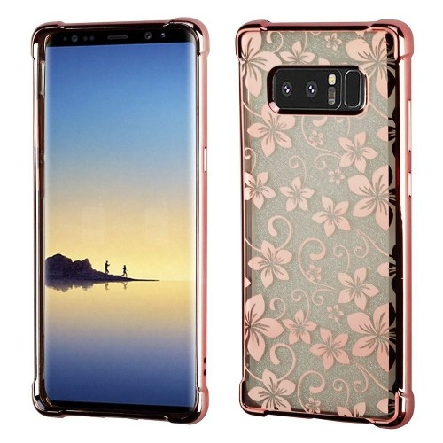 Insten Hibiscus Flower TPU Case For Samsung Galaxy Note 8 - Clear/Rose Gold