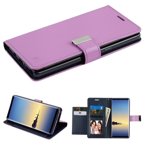 Insten Flip Leather Fabric Case w/stand/card holder/Photo Display For Samsung Galaxy Note 8 - Purple