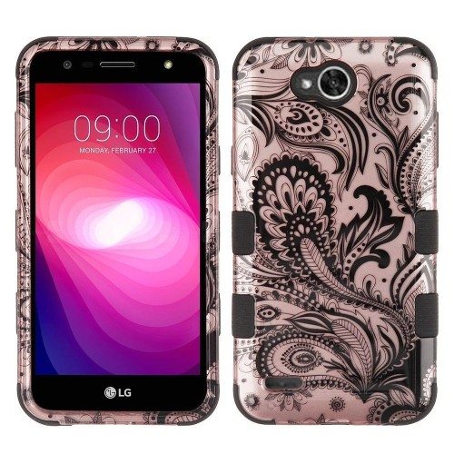 Insten Tuff Hard Dual Layer Plastic TPU Case For LG Fiesta LTE/X Charge/X Power 2 - Rose Gold/Black