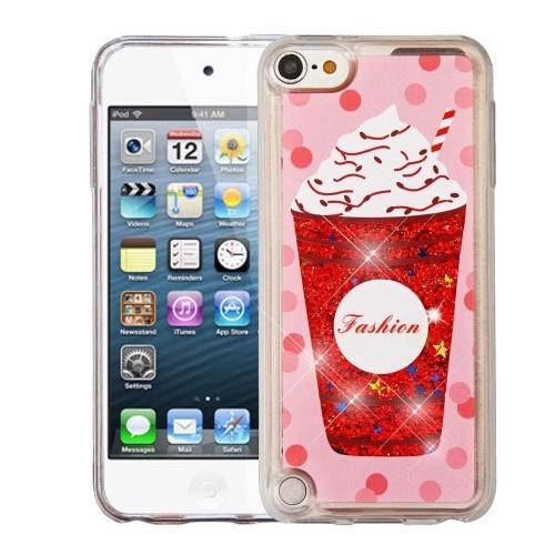 Insten Quicksand Glitter Ice cream Hard Plastic TPU Case For Apple iPod Touch 5th Gen/6th Gen - Red