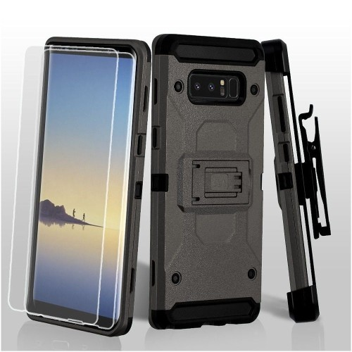 Insten Hard Hybrid Plastic TPU Case w/stand/Holster/Bundled For Samsung Galaxy Note 8, Gray/Black