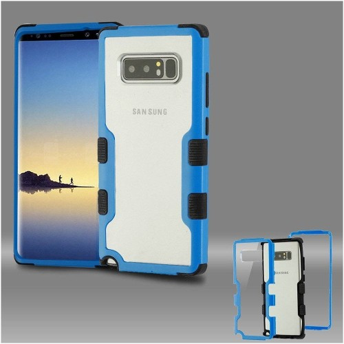 Insten Tuff Hard Dual Layer Plastic TPU Cover Case For Samsung Galaxy Note 8 - Clear/Blue