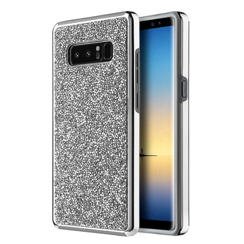 Insten Hard Rhinestone Cover Case For Samsung Galaxy Note 8 - Silver