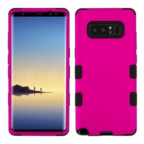 Insten Tuff Hard Hybrid Metallic TPU Case For Samsung Galaxy Note 8 - Hot Pink/Black