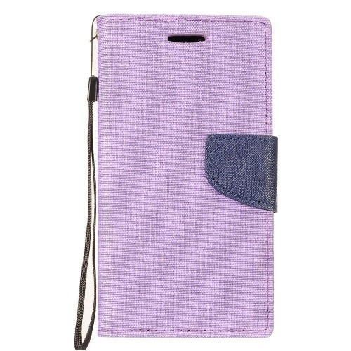 Insten Denim Fabric Case Lanyard w/stand/card holder For Samsung Galaxy Note 8, Purple/Blue