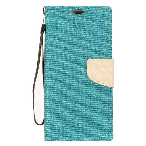 Insten Denim Fabric Case Lanyard w/stand/card slot For Samsung Galaxy Note 8, Blue/Gray