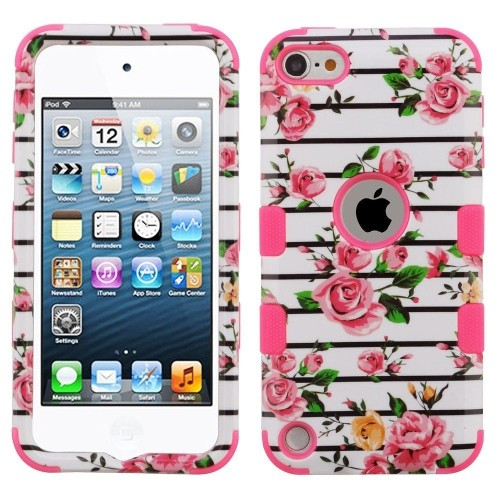 Insten Tuff Fresh Roses Hard Hybrid Plastic TPU Case For iPod Touch 5th Gen/6th Gen, Multi-Color