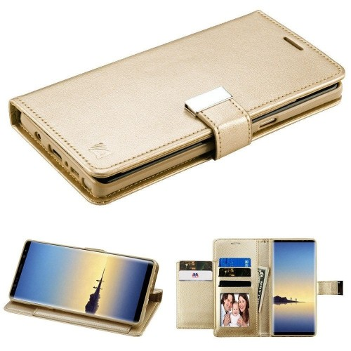 Insten Folio Leather Fabric Case w/stand/card holder/Photo Display For Samsung Galaxy Note 8, Gold
