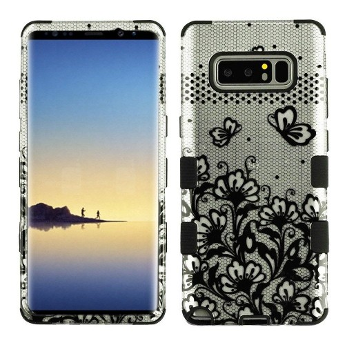 Insten Tuff Lace Flower Hard Dual Layer Plastic TPU Case For Samsung Galaxy Note 8 - Clear/Black