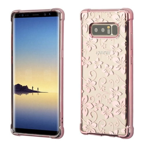 Insten Fitted Hard Shell Case for Samsung Galaxy Note 8 - Clear;Rose Gold