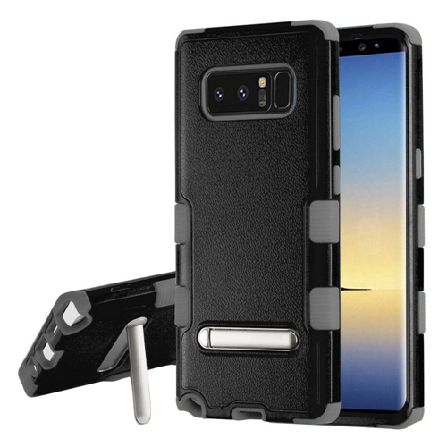Insten Tuff Hard Dual Layer Plastic TPU Case w/stand For Samsung Galaxy Note 8 - Black/Gray