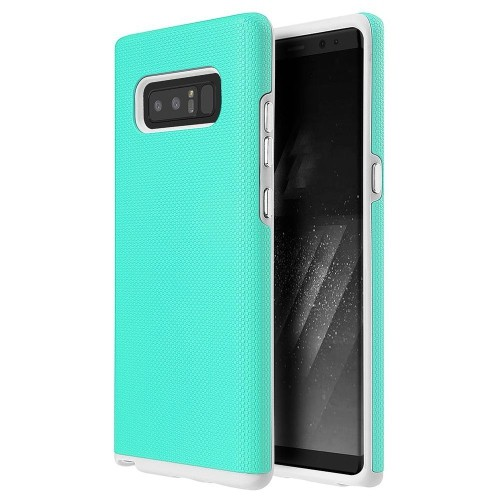 Insten Fitted Soft Shell Case for Samsung Galaxy Note 8 - White; Teal