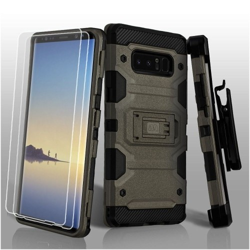 Insten Storm Tank Hard Hybrid Plastic TPU Case w/stand/Holster For Samsung Galaxy Note 8, Gray/Black