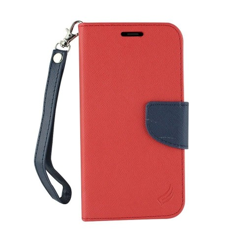 Insten Folio Leather Fabric Case Lanyard w/stand/card holder For Samsung Galaxy Note 8, Red/Blue