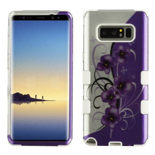 Insten Twilight Petunias Hard Hybrid Plastic TPU Cover Case For Samsung Galaxy Note 8, Purple/White