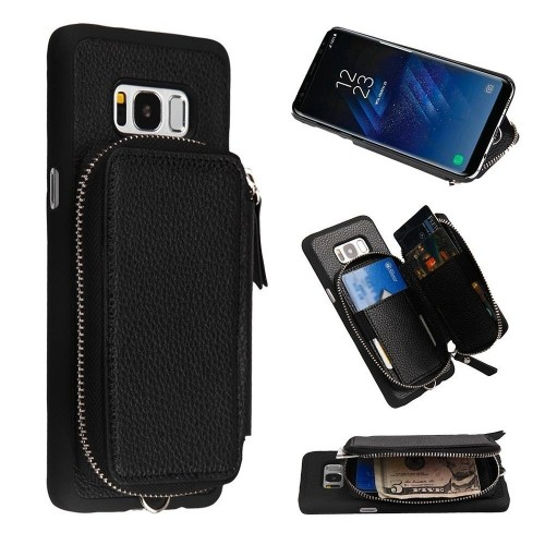 Insten Zipper Pouch Hard Leatherette Cover Case w/card holder For Samsung Galaxy S8 Plus - Black