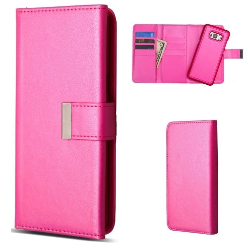 Insten Detachable Magnetic Book-Style Leather Case w/card slot For Samsung Galaxy S8 Plus, Hot Pink