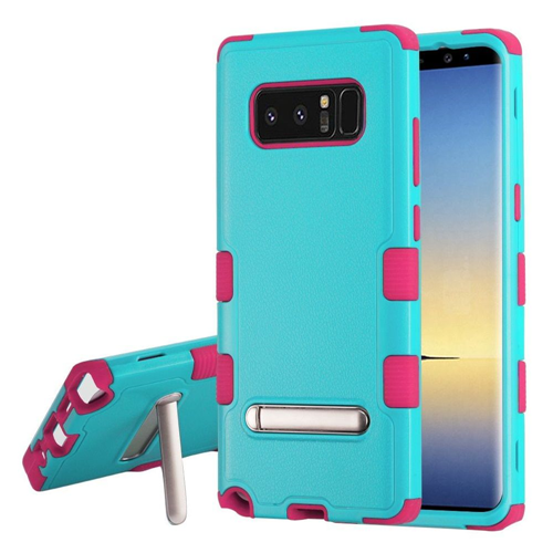 Insten Tuff Hard Dual Layer Plastic TPU Cover Case w/stand For Samsung Galaxy Note 8 - Teal/Hot Pink