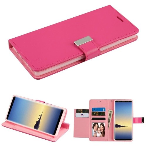 Insten Folio Leather Fabric Case w/stand/card slot/Photo Display For Samsung Galaxy Note 8, Hot Pink