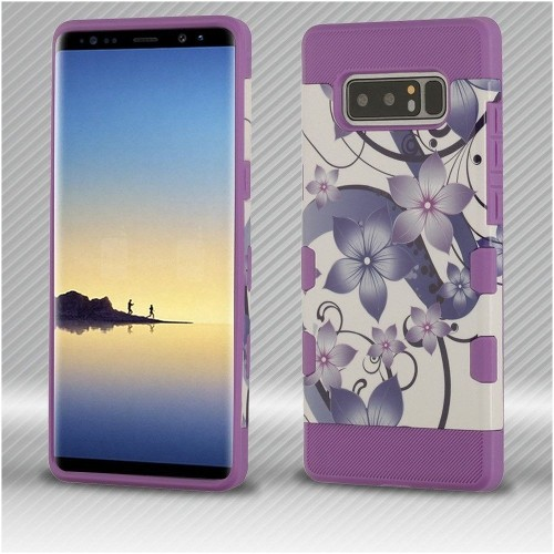 Insten Tuff Hibiscus Flower Romance Hard Hybrid Plastic TPU Case For Samsung Galaxy Note 8 - Purple