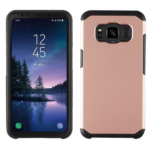 Insten Astronoot Hard Hybrid Plastic TPU Cover Case For Samsung Galaxy S8 Active - Rose Gold/Black