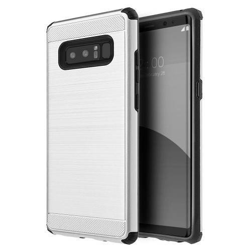 Insten Silkee Armor Hard Hybrid Brushed TPU Cover Case For Samsung Galaxy Note 8 - Silver/Black