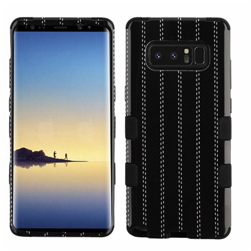 Insten Tuff Striped Suit Hard Hybrid Plastic TPU Cover Case For Samsung Galaxy Note 8 - Black