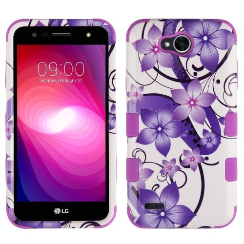 Insten Hibiscus Flower Romance Hard Plastic TPU Case For LG Fiesta LTE/X Charge/X Power 2, Purple
