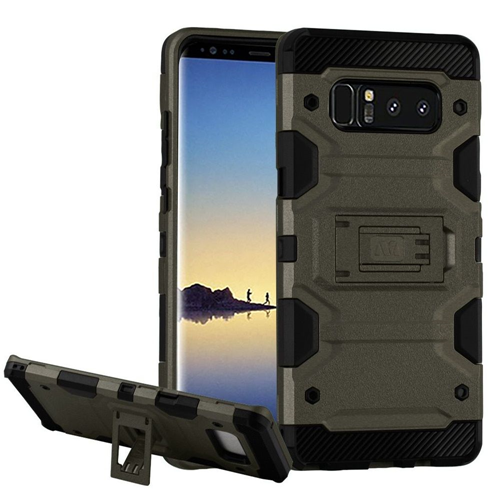 Insten Storm Tank Hard Dual Layer Plastic TPU Case w/stand For Samsung Galaxy Note 8 - Gray/Black