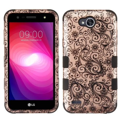 Insten Four-leaf Clover Hard Plastic Case For LG Fiesta LTE/X Charge/X Power 2, Rose Gold/Black