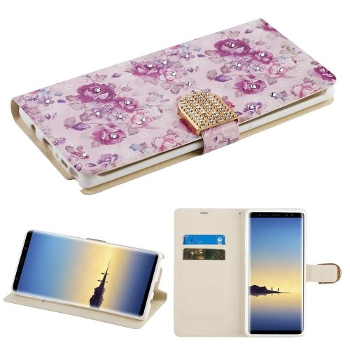 Insten Fresh Flowers Flip Leather Case w/card slot/Diamond For Samsung Galaxy Note 8, Multi-Color