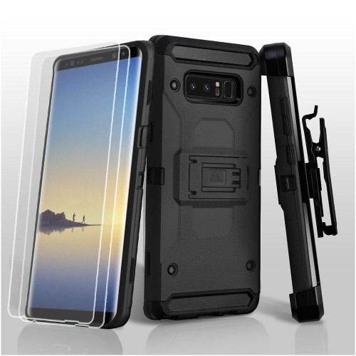 Insten Hard Hybrid Plastic TPU Cover Case w/stand/Holster/Bundled For Samsung Galaxy Note 8 - Black