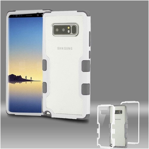 Insten Tuff Hard Hybrid Plastic TPU Case For Samsung Galaxy Note 8 - Clear/White