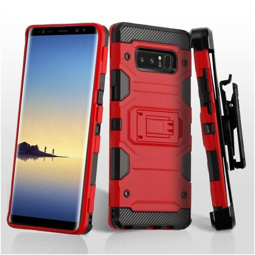 Insten Storm Tank Hard Hybrid Plastic TPU Case w/stand/Holster For Samsung Galaxy Note 8, Red/Black