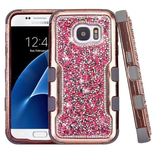 Insten Tuff Hard Hybrid Diamond Silicone Cover Case For Samsung Galaxy S7 - Rose Gold